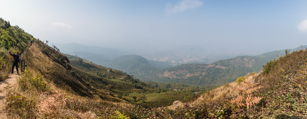 Mountain Panoramic view with golden grass and many mountains with fog in the background at Kew Mae Pan Mountain Ridge in Chiang Mai, Thailand.