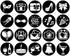 Set of simple icons on a theme Party, Birthday, Holidays, vector, design, collection, flat, sign, symbol,element, object, illustration. White background