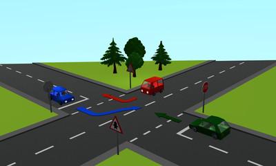 Verkehrssituation: Drei Autos an einer Kreuzung mit Vorfahrt- und Stoppschild sowie Richtungspfeilen