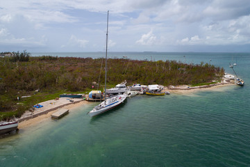Sail boats washed ashore in the Florida Keys after Hurricane Irma