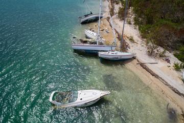 Sunken boats after Hurricane Irma
