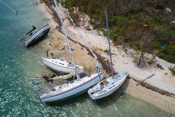 Boats washed on shore after Hurricane Irma Key West FL