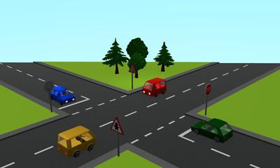 Verkehrssituation: vier Autos an einer Kreuzung mit Vorfahrt- und Stoppschild