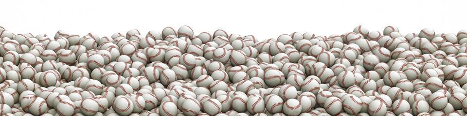 Baseballs pile panorama / 3D illustration of panoramic view of hundreds of baseballs Wall mural