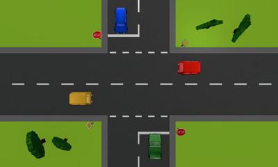 Verkehrssituation: vier Autos an einer Kreuzung mit Stoppschild. Ansicht von oben