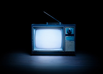 Retro television with white noise / high contrast image Fototapete