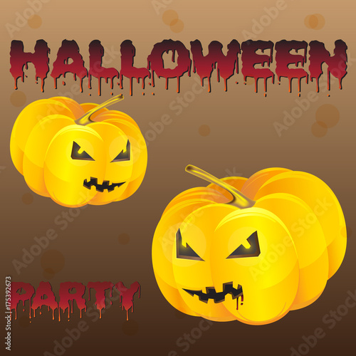 Halloween Night Background With Pumpkin Flyer Or Invitation Template For Party