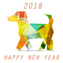 Yellow dog in origami style icon. 2018 new year symbol. Celebration white background with dog and place for your text