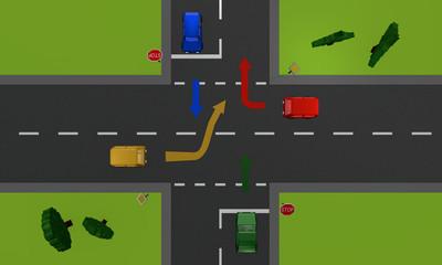 Verkehrssituation: vier Autos an einer Kreuzung mit Stoppschild und Richtungspfeilen. Ansicht von oben