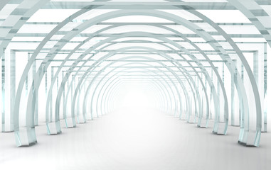 Bright glass corridor or tunnel in 3D rendered perspective