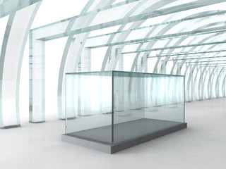 Bright glass corridor or tunnel with glass box for exibition in 3D rendered perspective