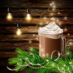 Christmas New Year design with hot chocolate