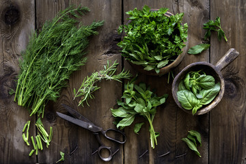 Fresh culinary herbs, string and scissors