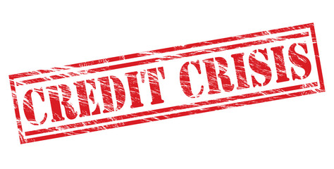 credit crisis red stamp on white background