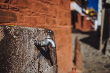 Tap water in the Tashilhunpo Monastery, Shigatse,Tibet
