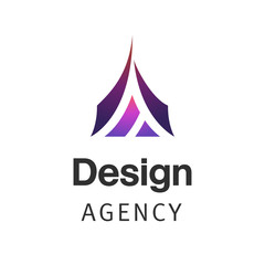 Letter A company logo design template. Triangle pyramid agency logo design