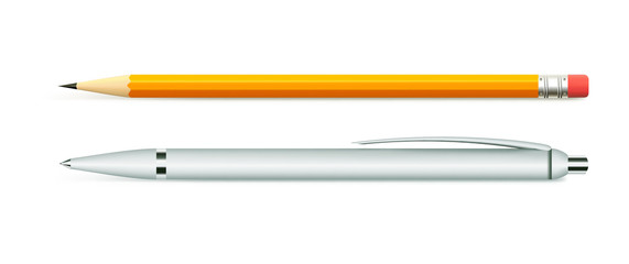 Business set of stationery items, pen and pencil