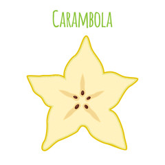 Carambola, star fruit, yellow vegetarian nutrition. Cartoon flat style. Vector illustration