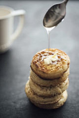 Food: Homemade Crumpets serie, with butter and honey