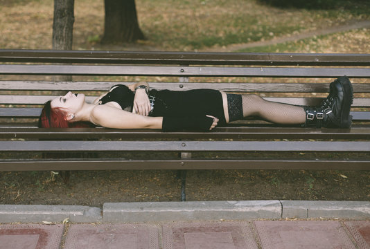 homeless punk woman