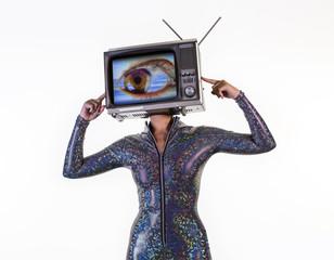 tv head woman with eye video