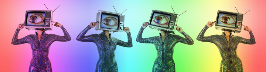 tv head woman with eye video