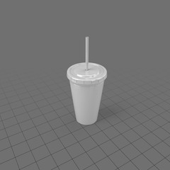 Plastic cup with lid and straw
