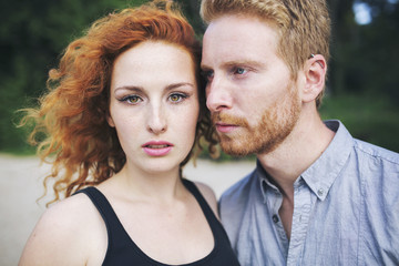Portrait of a beautiful ginger couple