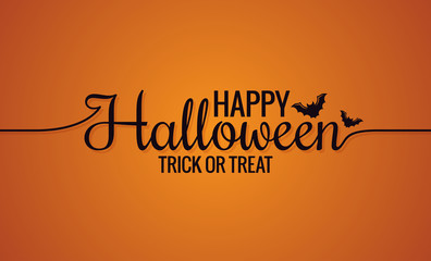 Happy Halloween Line Vintage Lettering Background