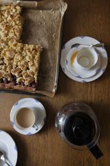 homemade cherry apple cake and coffee