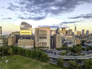 Back Bay Boston in Massachusetts, USA, Skyline of downtown on a Summer, Aerial view