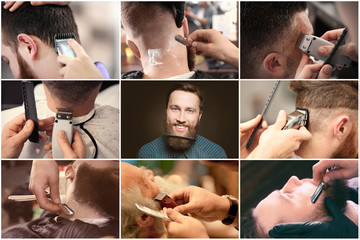 Collage with stylish men at barbershop