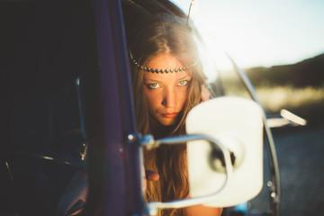Beautiful Young Hippie Girls Outdoors Enjoying Nature