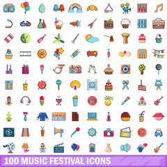 100 music festival icons set, cartoon style