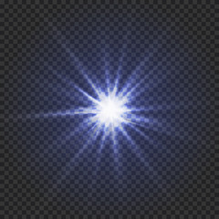 Star on a transparent background, blue shining star, Vector glowing light effect star,Abstract image of lighting flare