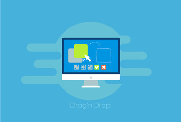 Drag and drop banner. Computer with the program and site configuration settings functions
