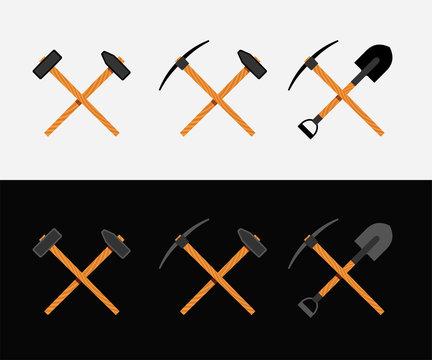 Crossed hammer and shovel