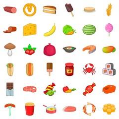 Watermelon icons set, cartoon style