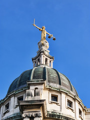 Scales of Justice of the Old Bailey, London, UK