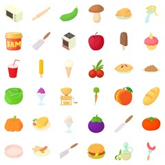 Spaghetti icons set, cartoon style