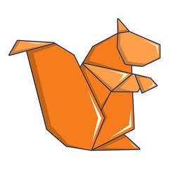 Origami squirrel icon, cartoon style