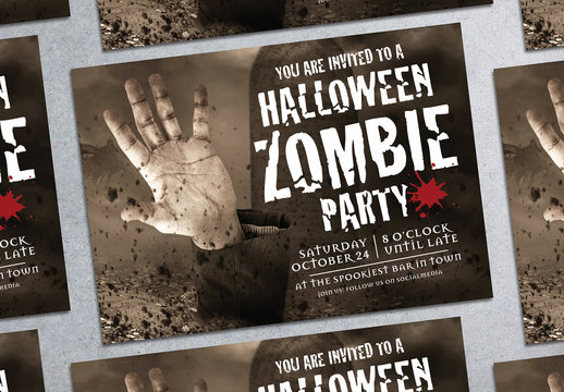 Halloween Zombie Party Flyer Layout 1