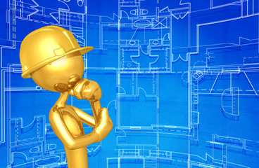 The Original Construction Worker 3D Character Illustration In Contemplation