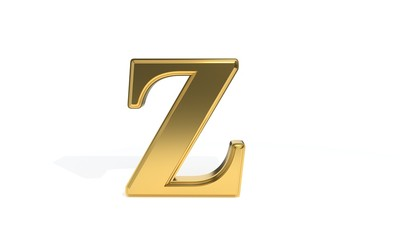 Z gold colored alphabet, 3d rendering