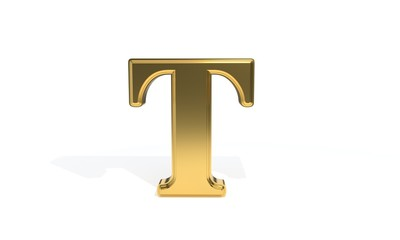 T gold colored alphabet, 3d rendering