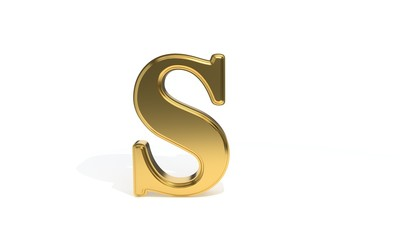 S gold colored alphabet, 3d rendering