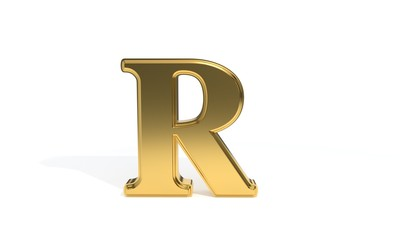 R gold colored alphabet, 3d rendering