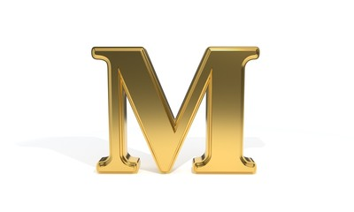 M gold colored alphabet, 3d rendering