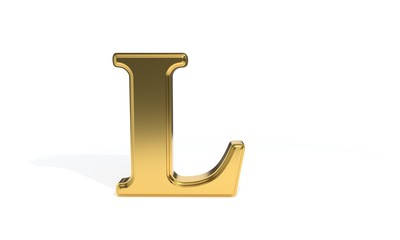 L gold colored alphabet, 3d rendering