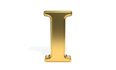 I gold colored alphabet, 3d rendering